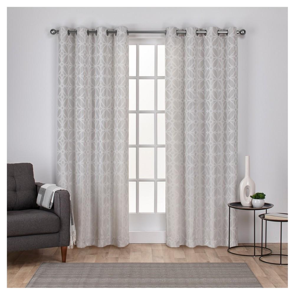 Cressy Geometric Textured Linen Jacquard Grommet Top Window Curtain Panel Pair Dove Gray (54