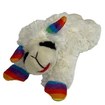 "Multipet Pride Lamb Chop Rainbow Stripes Dog Toy - 6"""