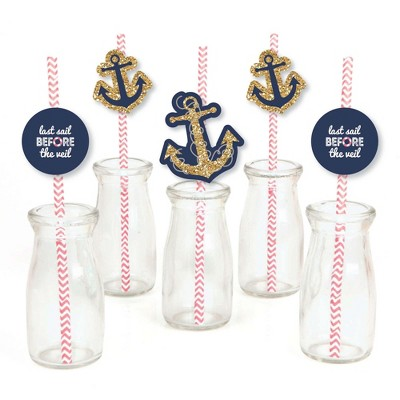 Big Dot of Happiness Last Sail Before the Veil Paper Straw Decor - Nautical Bridal Shower and Bachelorette Party Striped Decorative Straws - Set of 24