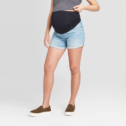 Isabel Maternity by Ingrid /& Isabel Crossover Panel Midi Jean Shorts Light Wash
