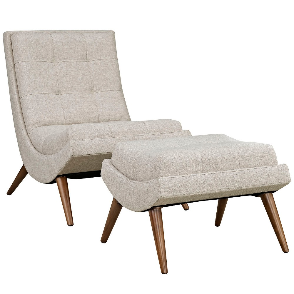 Image of 2pc Ramp Upholstered Fabric Lounge Chair Set Sand - Modway, Brown