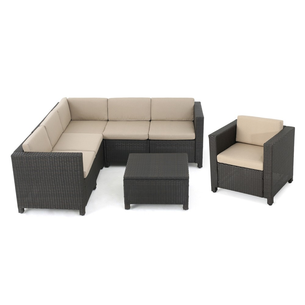 Puerta 7pc Wicker V-Shaped Sectional Sofa Set - Dark Brown - Christopher Knight Home
