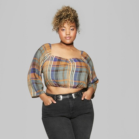 75d617a2327ca3 Women's Plus Size Plaid Puff Long Sleeve Ruched Front - Wild Fable™ Green  3X : Target