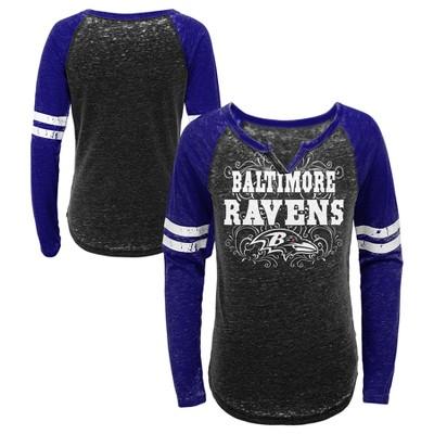 cfc00b9e Baltimore Ravens Girls' Fashion Team Alt Color Burnout Long Sleeve T-Shirt  XS