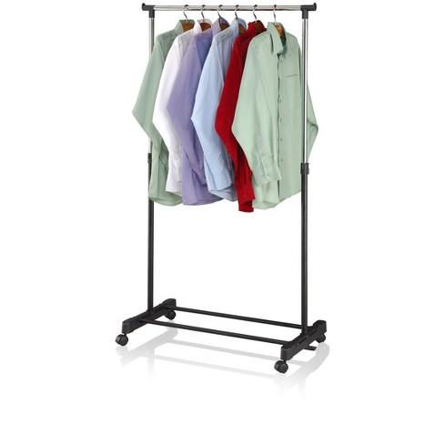 Sunbeam Single Rail Adjustable Rolling Garment and Wardrobe Organizing Rack, Black - image 1 of 4