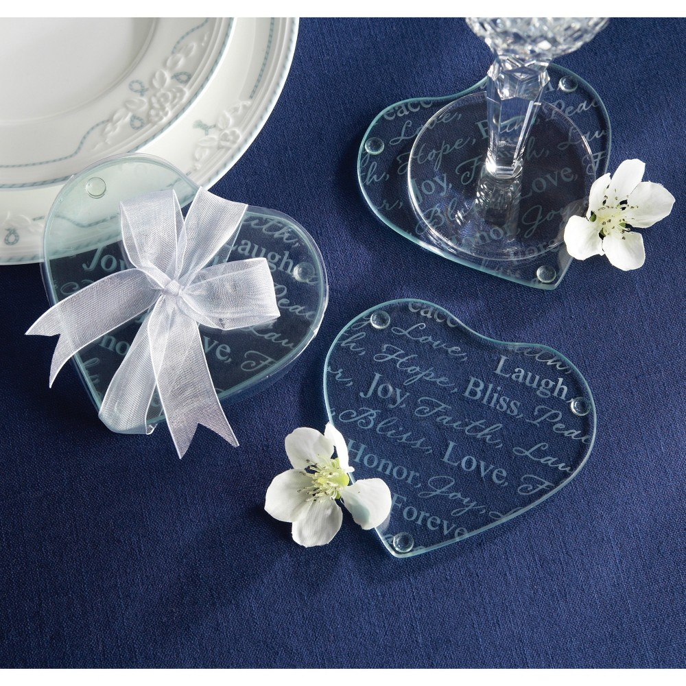 Image of 12ct Kate Aspen Good Wishes Heart Glass Coasters