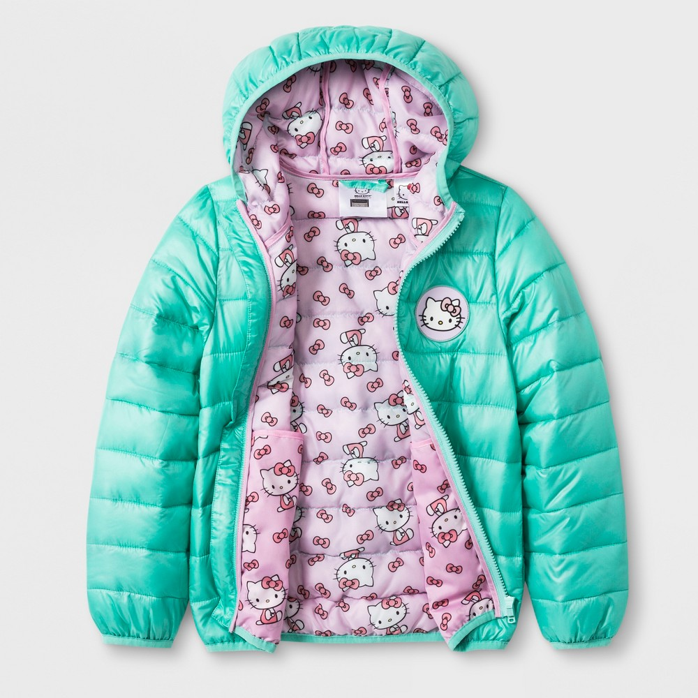 55388ff3e 673988516605. Toddler Girls' Hello Kitty Hooded Quilted Jacket - Mint ...