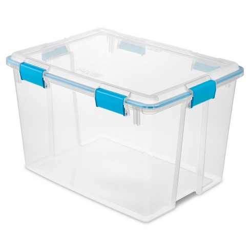 Sterilite 80qt Gasket Box Clear with Blue Latches - image 1 of 4
