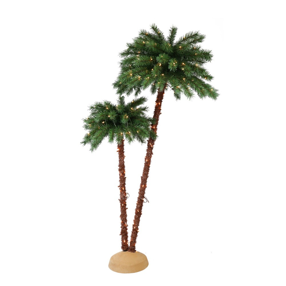 Image of 3.5ft/6ft Double Pre-lit Artificial Christmas Palm Tree - Puleo