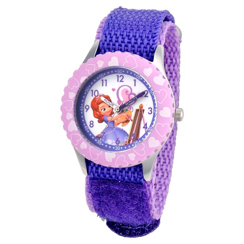 Disney® Girls' Sofia Stainless Steel with Printed Bezel Watch - Purple - image 1 of 2