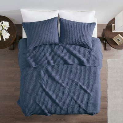 Navy Mitchell Solid Brushed Fabric Quilt Set Full/Queen 3pc