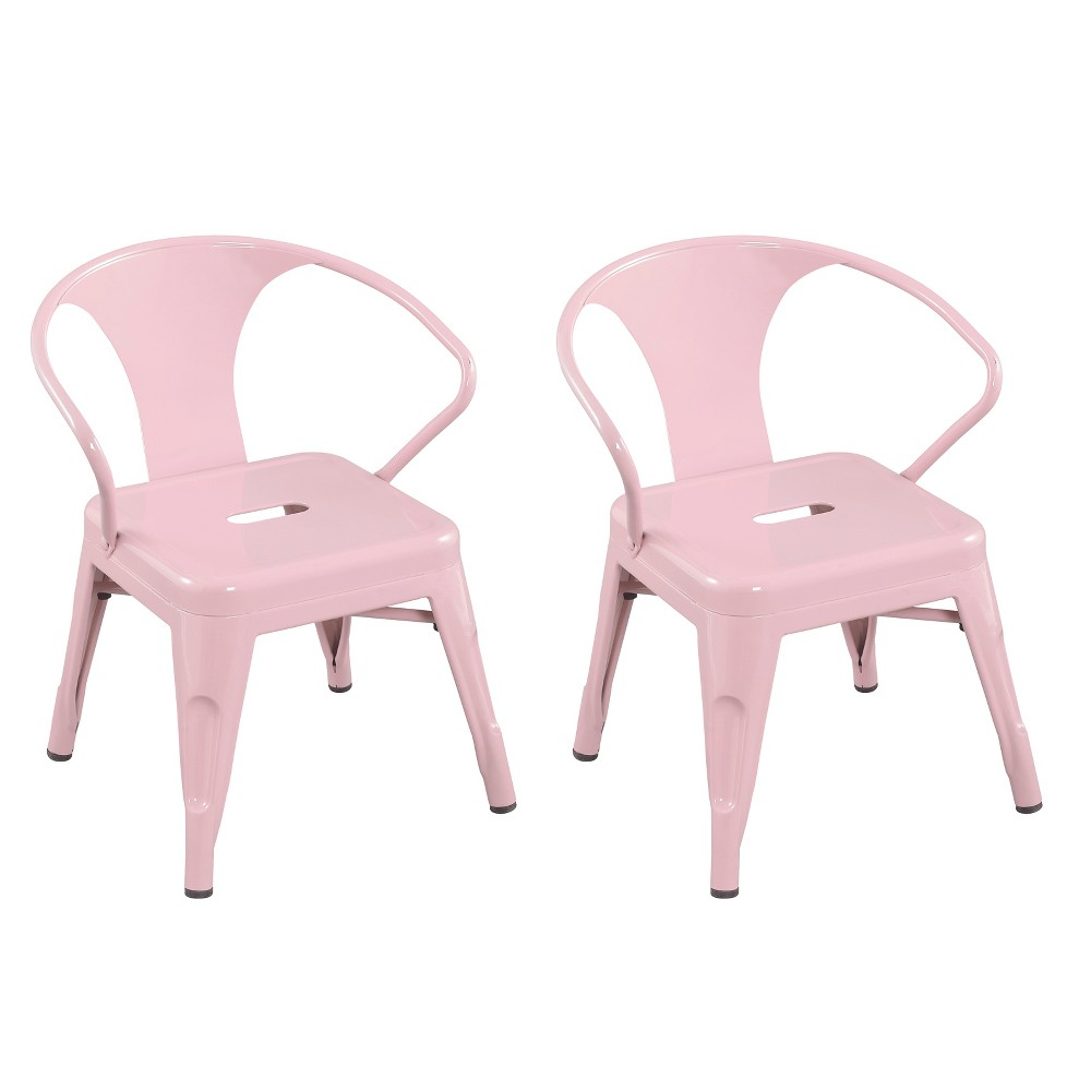 Image of Set of 2 Kids Metal Activity Chair Blush Pink - Acessential