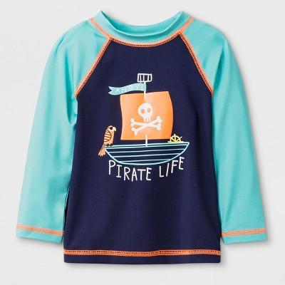 Baby Boys' Long Sleeve Pirate Raglan Rash Guard - Cat & Jack™ Aqua 12M