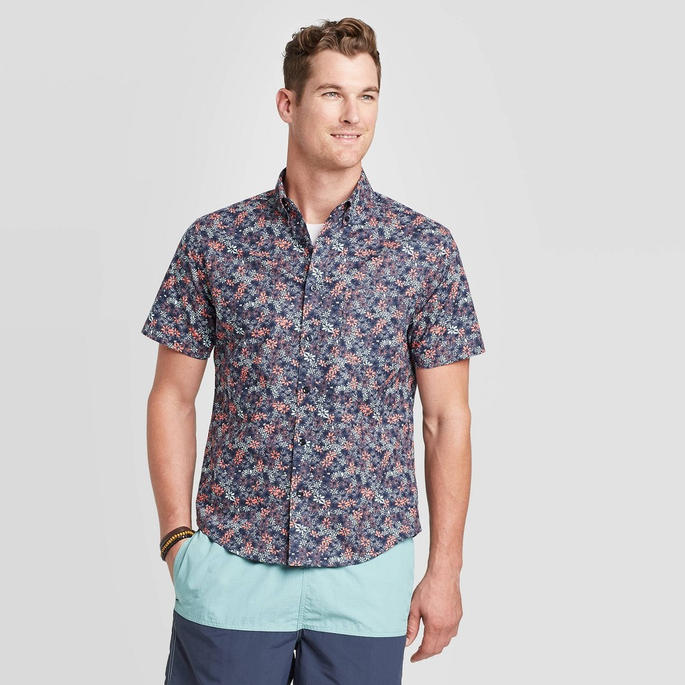 Men's Standard Fit Floral Print Short Sleeve Poplin Button-Down Shirt - Goodfellow & Co Blue S was $19.99 now $12.0 (40.0% off)