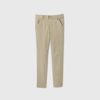 Boys' Flat Front Stretch Uniform Skinny Fit Pants - Cat & Jack™ Khaki