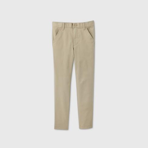Boys' Flat Front Stretch Uniform Skinny Fit Pants - Cat & Jack™ Khaki - image 1 of 3