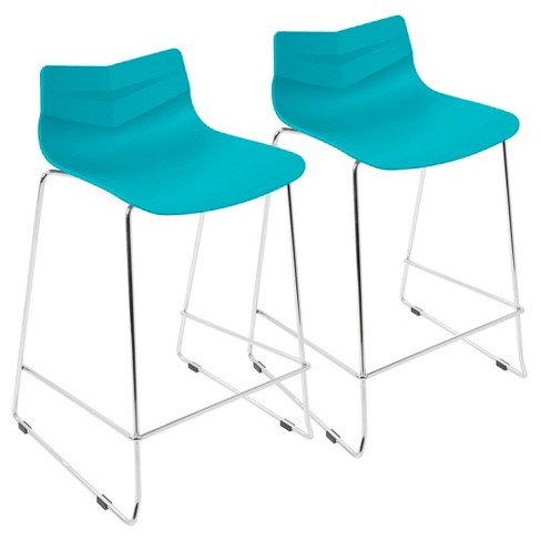Set of 2 Arrow Contemporary Counter Stool Turquoise - Lumisource - image 1 of 4