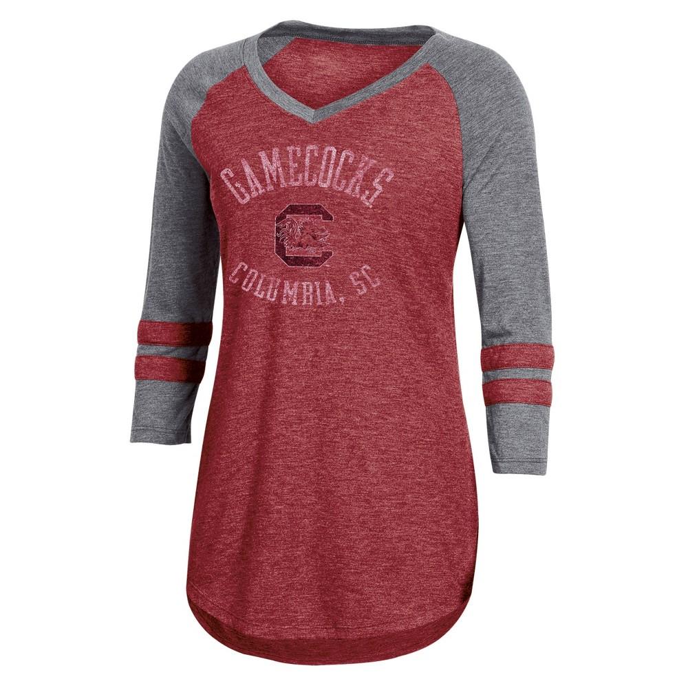 NCAA Women's 3/4 Sleeve V-Neck T-Shirt - South Carolina Gamecocks - M, Multicolored