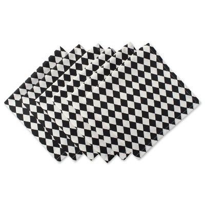 Set of 6 Harelquin Print Napkins Black/White - Design Imports