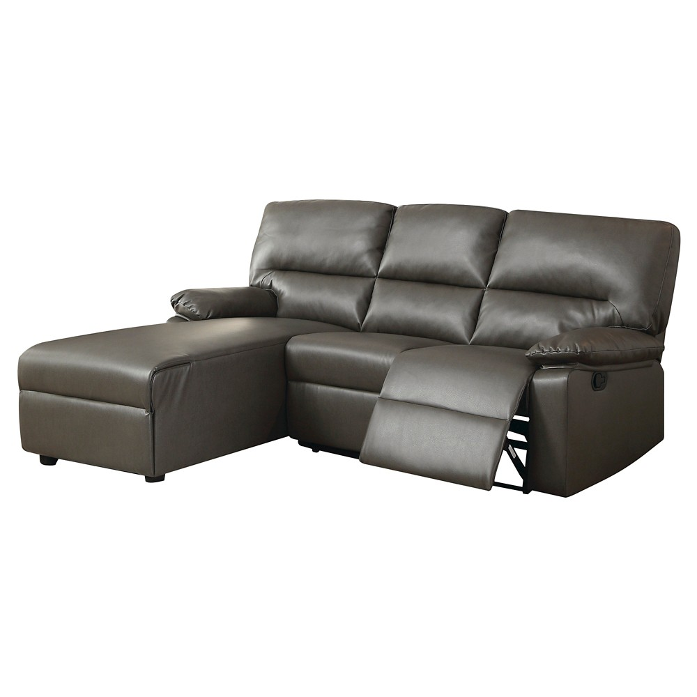 Acme Artha Sectional Sofa, Gray Bonded Leather Match