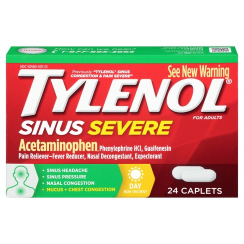 Tylenol Sinus Severe Pain Reliever Caplets - Acetaminophen - 24ct - image 1 of 4