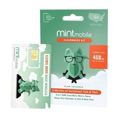 Mint Mobile 12 Month 4GB/mo Plan SIM Kit