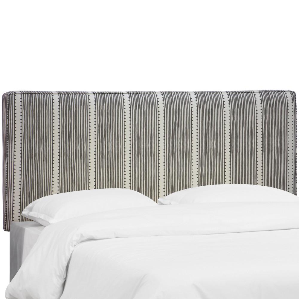Lexi Box Seam Headboard - King - Bennett Stripe Charcoal - Skyline Furniture