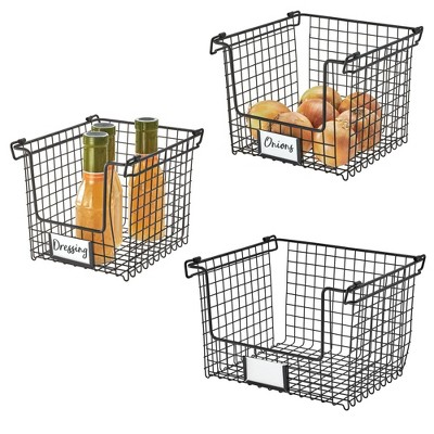 iDESIGN Classico Stackable 3 Basket Combo Black