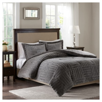 Gray Polar Brushed Faux Fur Comforter Mini Set Full/Queen 3pc