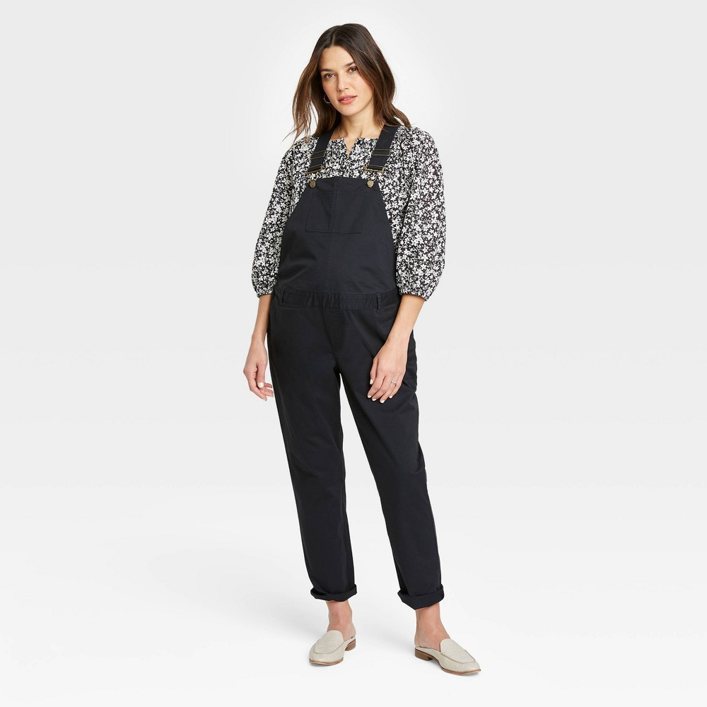 The Nines By Hatch 8482 Maternity Classic Cotton Twill Overalls Black 16