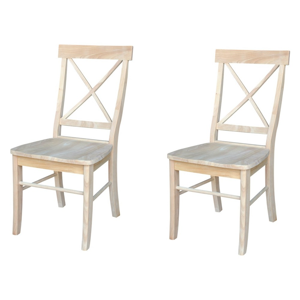 Set Of 2 X Back Chair Unfinished - International Concepts