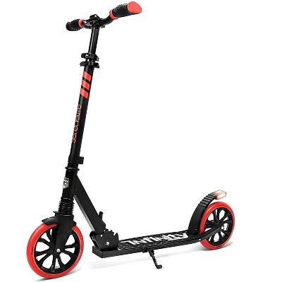 SereneLife SLTS57 Foldable Kick Scooter with 2 Large Wheels for Adults and Kids with Adjustable Grip Handlebars and Anti Slip Rubber Deck, Red