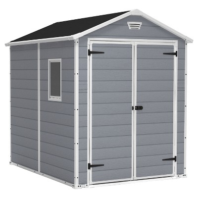 Manor Large Resin Outdoor Storage Shed 6X8 - Gray - Keter