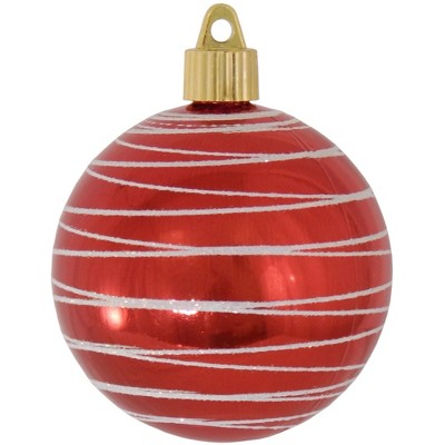 "Christmas by Krebs 4ct Red and White Tangles Shatterproof Shiny Christmas Ball Ornaments 3.25"" (80mm)"