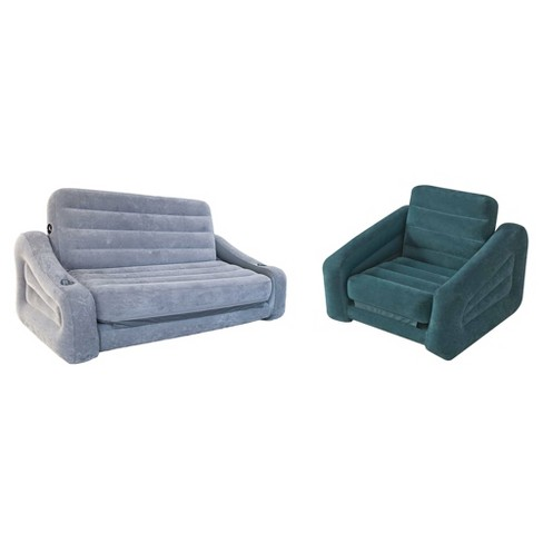 Intex Queen Inflatable Pull-Out Sofa Airbed + Inflatable Pull-Out Chair Sleeper - image 1 of 6
