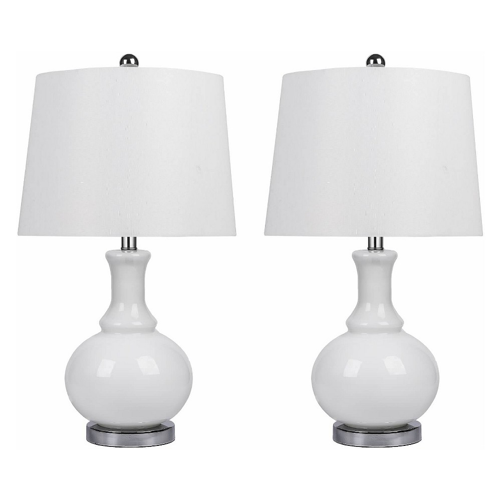 Set of 2 Felicia Glass Table Lamps White (Lamp Only) - Abbyson Living