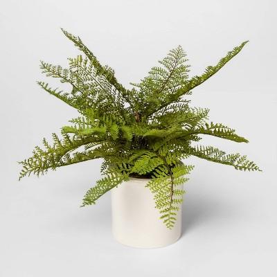 "15"" x 14.5"" Artificial Fern Arrangement in Ceramic Pot White/Green - Threshold™"
