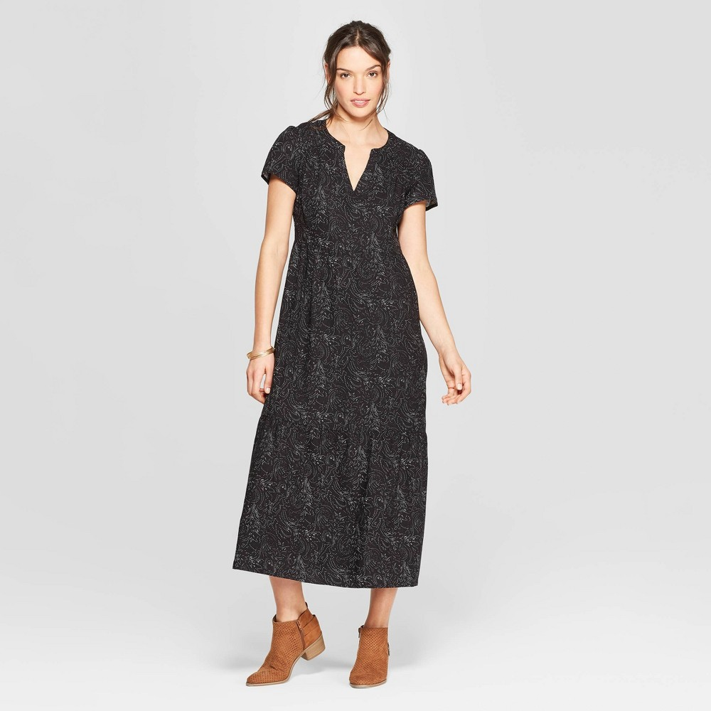 Women's Short Cap Sleeve V-Neck Midi Dress - Universal Thread Black XS
