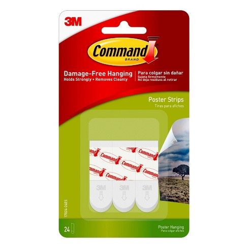 Command 24 Strips Small Sized Poster Strips Decorative Hooks White - image 1 of 3