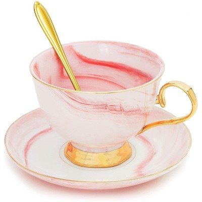Juvale 3 Pieces Pink Tea Cup Gift Set with Gold Blossom Spoon and Saucer (7 Oz)