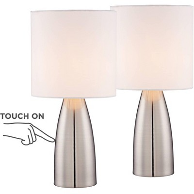 """360 Lighting Modern Table Lamps 14 1/2"""" High Set of 2 Touch On Off Switch Silver Metal White Drum Shade for Bedroom Bedside Office"""