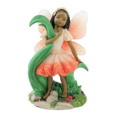 "Black Art 5.75"" Child Fairy Red Figurine Flowers  -  Decorative Figurines"