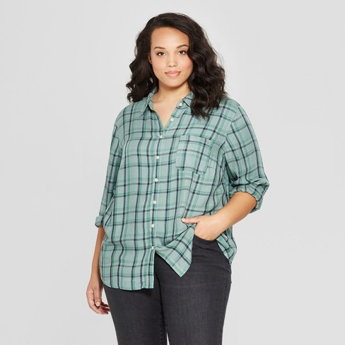 9cb3e62b Women's Plus Size Plaid Long Sleeve Collared Shirt - Universal Thread™ Green  : Target