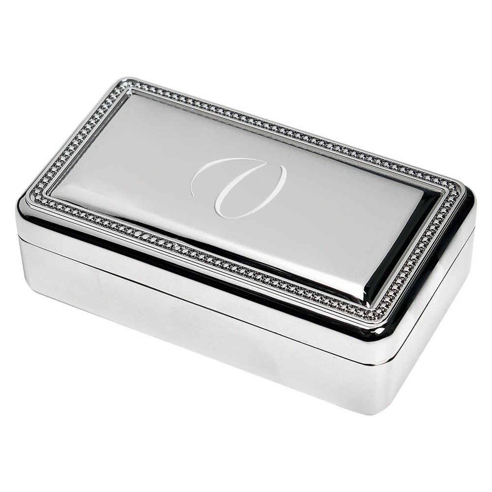 Monogram Rectangle Beaded Jewelry Box - V, Silver