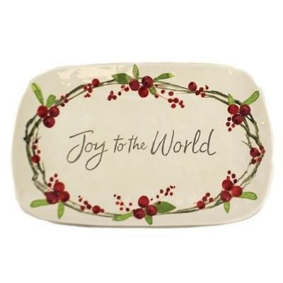 "Tabletop 8.75"" Joy To The World Platter Christmas Berries Burton & Burton  -  Serving Platters"