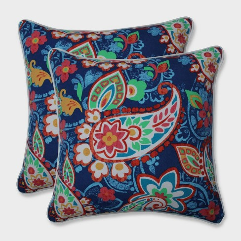 "16.5"" 2pk Paisley Party Throw Pillows Blue - Pillow Perfect - image 1 of 1"