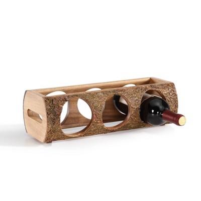 15.2  x 4.7  Stackable Three Bottle Wine Holder Acacia Wood Log Brown - Danya B.