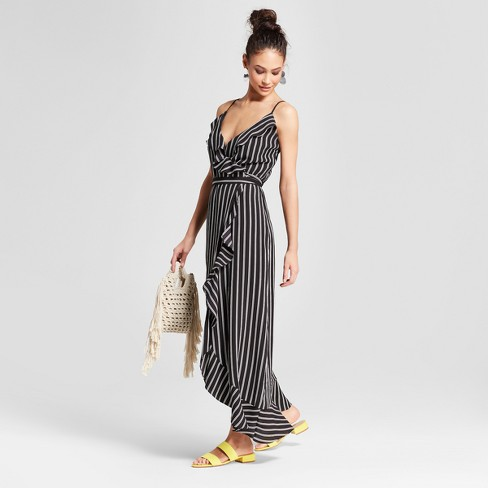 3d7cfc9f1414fc Women s Striped Ruffle Wrap Flounce Bottom Maxi Dress - Necessary Objects  Black White