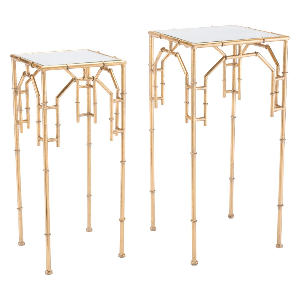 Luxe Glass and Steel Square Tray Tables (set of 2) - Gold - ZM Home