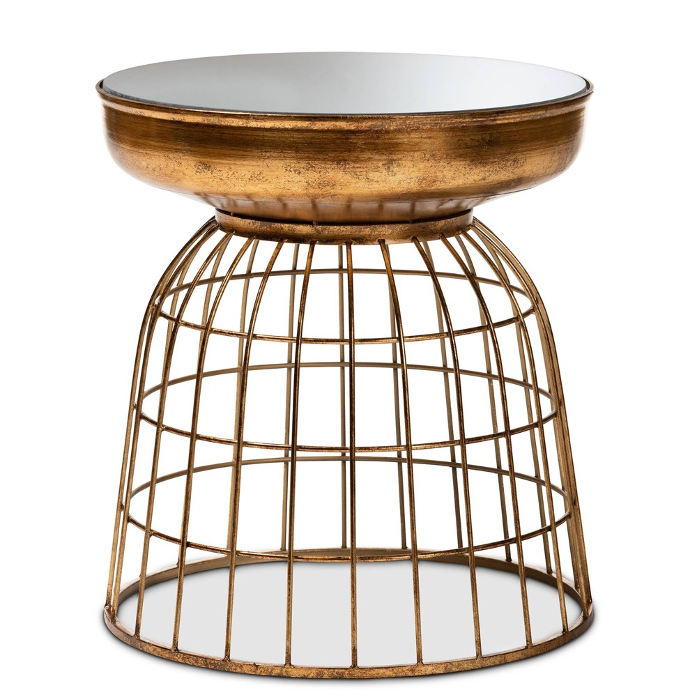 Andreia Finished Metal and Mirrored Glass Cage Accent Table Gold - Baxton Studio